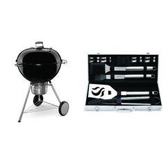Weber 16401001 Original Kettle Premium Charcoal Grill 26-Inch Black with Cuisinart Grilling Set...