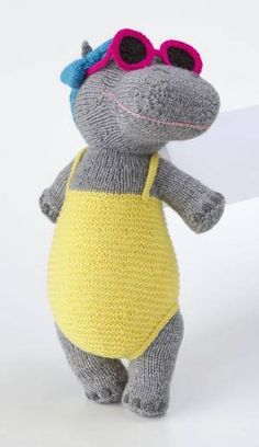 Heatwave Hippo pattern by Alan Dart Alan Dart's Heatwave Hippo. I crochet, so this is an inspiration piece for me! Simply Knitting, Knitting For Kids, Knitting Projects, Baby Knitting, Crochet Projects, Knitting Patterns, Knitting Toys, Sock Animals, Knitted Animals