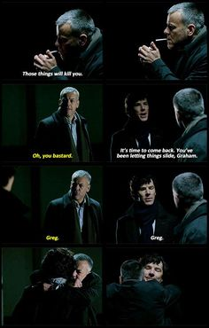 *SPOILERS* Aww, Sherlock's smile in the last one. I think Lestrade to. - *SPOILERS* Aww, Sherlock's smile in the last one……. I think Lestrade took it the best ou - Funny Sherlock, Sherlock Fandom, Sherlock Quotes, Sherlock Poster, Sherlock Season, Sherlock Holmes Bbc, Sherlock John, Sherlock Moriarty, Watson Sherlock