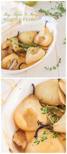 Bay, Thyme and Honey Roasted Pears Recipe
