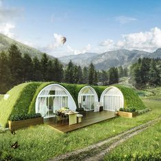 The world of glamping in pod homes and portable shelters has just got a lot more exciting. Here's our selection of some of the most interesting designs for glamping businesses and those who want to stay in them. home pod home Green Magic Homes, Tiny House Village, Tiny Houses, Small House Exteriors, Portable Shelter, Camping Pod, Eco Buildings, Living Roofs, Dome House