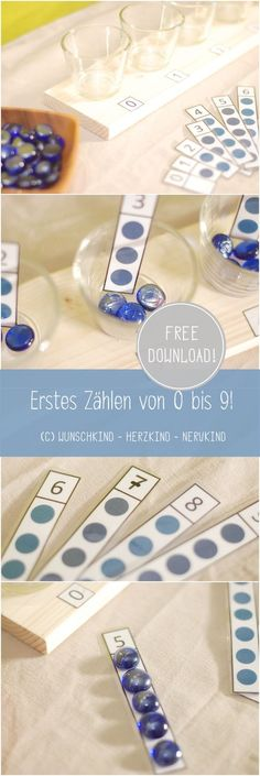Mit diesem Download-Material kannst du deinem Kind das erste Zählen von 0 - 9 näher bringen. Montessori-inspiriert und sehr ansprechend in der Darbietung.