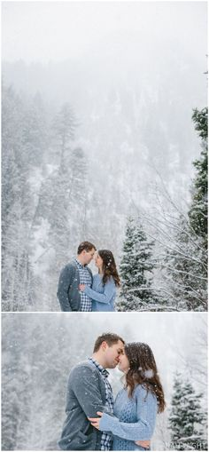 Winter engagement photos in the snow are so much fun! The Utah mountains create a beautiful backdrop.