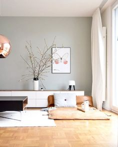 Home Interior Ideas modern living room design // white and wood modern cabinets.Home Interior Ideas modern living room design // white and wood modern cabinets Living Room Interior, Home Living Room, Living Room Designs, Living Room Decor, Living Room Colors, Apartment Living, Living Room Walls, Apartment Therapy, Bedroom Apartment