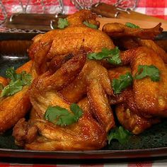 Crispy Lime and Cilantro Chicken Wings with Sriracha by Chef Michael Symon...mmmm
