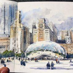 649 отметок «Нравится», 15 комментариев — Stephanie Bower (@stephanieabower) в Instagram: «Detail of today's Bean Sketch. #uskchicago2017 #usksymposium #urbansketchers #chicago #travelsketch…»