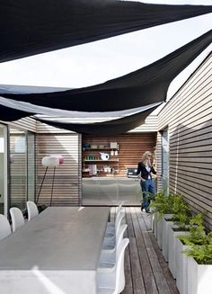 Courtyard with sail shades