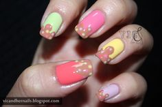 "11. ""Ice Cream Skittle"" ~ IDR 50.000 (without nail glue) ~ IDR 55.000 (with nail glue 2gr) *belum termasuk ongkos kirim* ~ Customizable color, nail shape, and nail length ~ Shipped from Jakarta ~ Line/kakao: victoriaoen ~ Instagram: @vicsfakes ~ Facebook: www.facebook.com/vicsfakes ~ Email: vicsfakes@hotmail.com"