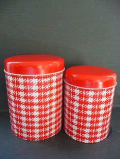 Pair of red and white checkered tins by LetItRain on Etsy