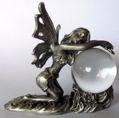 Fantasy Pewter Fairy Glass Orb Globe Metal Magical Myth Ornament Figurine
