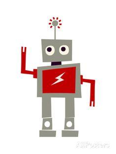 Robot with Red Lightning Art Print Vintage Robots, Retro Robot, Robot Illustration, Illustrations, Red Lightning, Framed Art, Wall Art, Wall Decal, Clipart