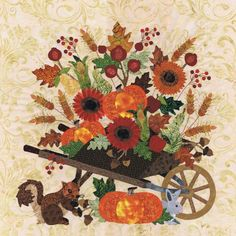 Blk # 13 Bountiful Harvest for Baltimore Autumn quilt pattern by Pearl P. Pereira Designs, applique cotton