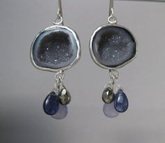 Baby Geode Earrings with Lavender Chalcedony Iolite & Pyrite Drops