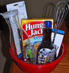 Pancake homemade gift.. Fun wedding shower or house warming gift!