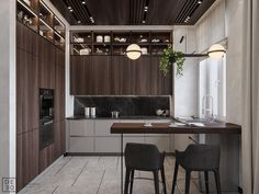 Get onboard with the wood slat wall trend with this luxurious home interior; featuring wood slat dividing walls, wall panel design and wood ceiling ideas. Wood Slat Wall, Wood Slats, Wood Doors, Kitchen Furniture, Kitchen Interior, Kitchen Decor, Furniture Cleaning, Furniture Movers, Furniture Stores