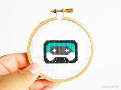 DIY Nerdy Cross-Stitch Kit - Mix Tape -Teal 009- Complete with Geeky Beginner Embroidery Tutorial