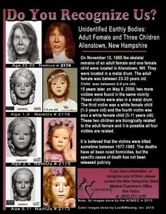 When comparing unidentified to those missing, remember if DNA was completed. Creepy Facts, Fun Facts, Missing Child, Missing Persons, Short Creepy Stories, Scary Places, Haunted Places, Amber Alert, Bring Them Home
