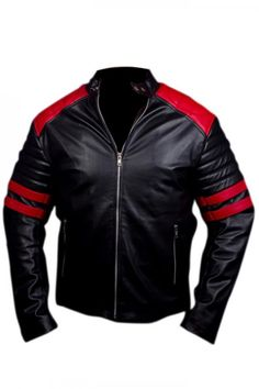 Fight Club Brad Pitt Black Leather Jacket