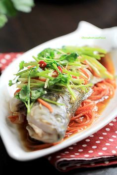 Steamed Fish Traditional and authentic Chinese steamed fish with soy sauce.Traditional and authentic Chinese steamed fish with soy sauce. Steam Recipes, Fish Recipes, Seafood Recipes, Paleo Recipes, Asian Recipes, Cooking Recipes, Chinese Recipes, Cooking Food, Chinese Steamed Fish