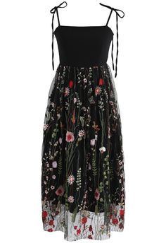 Flower Fields Embroidered Mesh Dress - New Arrivals - Retro, Indie and Unique Fashion