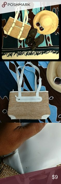 Vacation Worthy Cute Straw Purse With White Trim Excellent condition straw purse with white vinyl trim. Only marks are on the bottom, as pictured in the 3rd and 4th photos. Barely discernible. Inside is clean as a whistle! Polyester lining. Perfect for the sandy beach! Wipe clean. Height of purse only is 10 inches. Length is 13 inches. Height with straps is 20 inches. Bags Shoulder Bags