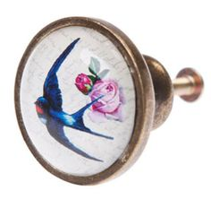 Vintage-Style-Painted-Swallow-Bird-Drawer-Knob-Pull-Metal-Glass-Gift-Home