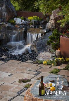 waterfall next to patio