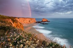A rare spring storm brings rain, a rainbow, and even some lightening to the California coast near Santa Cruz.  Wild flowers dot the bluffs above the blue Pacific ocean at the sunset light makes the cliffs turn golden.
