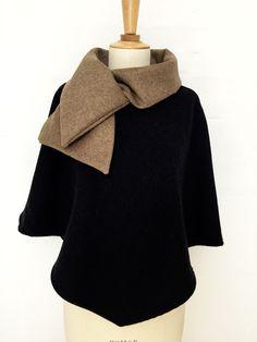 cape femme col croisé noeud laine cachemire liberty mode gris chiné carreaux hiver couture création classe beige
