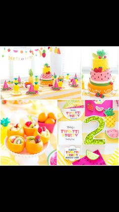 Two-tti fruity birthday party 2nd Birthday Party For Girl, Fruit Birthday, Second Birthday Ideas, Tutti Frutti, Tutti Fruity Party, Fruit Party, Festa Party, Tropical, Party Ideas