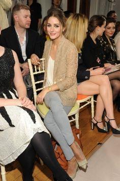 Olivia Palermo: Nude Lace Blazer + Grey Pants