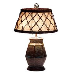 Antique Japanese Art Pottery Lamp with Period Woven Bamboo Shade