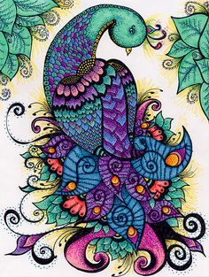 I love Zentangle, using this is my inspiration for my next piece :] Zen Doodle, Doodle Art, Coloring Books, Coloring Pages, Adult Coloring, Wal Art, Peacock Art, Peacock Drawing, Peacock Tattoo