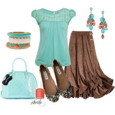 Fun skirt and cute colors, but without the jewelry & polish