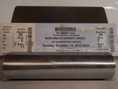 MADONNA MDNA Tour; October 14, 2012 Original Used Ticket MGM Grand Garden Las Vegas--Nice Souvenir Would Look Great Framed On Your Wall!