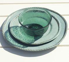 Rope Outdoor Dinnerware, Turquoise