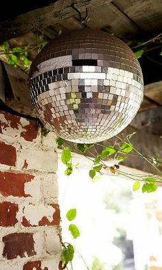 The Entertaining House: When decorating your home, have a ball - a disco ball! Mirror Ball, Kugel, Decorating Your Home, Decorative Bowls, Outdoor Living, Garden Design, Christmas Bulbs, Backyard, Patio