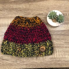 868dde52d Handmade Crochet Women s Chunky Messy Bun Hat - pink orange yellow black  with