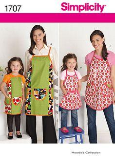 Simplicity 1707 Apron Crafts Girls Kids Women's Juniors Misses sewing pattern @TimeTravelStyle #timetravelcostumes