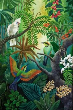40 Ideas garden illustration tropical for 2019 Deco Jungle, Jungle Art, Jungle Drawing, Jungle Scene, Garden Illustration, Jungle Illustration, Tropical Art, Tropical Garden, Bird Art
