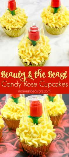 Beauty+&+the+Beast+Candy+Rose+Cupcakes+-+perfect+for+a+Beauty+and+the+Beast+party+or+just+some+movie+night+fun!+ y Postres Cupcakes Cool, Disney Cupcakes, Princess Cupcakes, Ladybug Cupcakes, Kitty Cupcakes, Snowman Cupcakes, Giant Cupcakes, Cupcakes Decoration Disney, Valentine Cupcakes