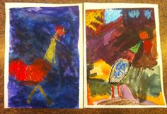 Roosters Giselle age 5 & Gabrielle age 4
