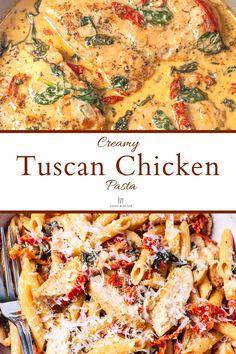 Chicken Pasta Dishes, Tuscan Chicken Pasta, Creamy Chicken Pasta, Chicken Spinach Tomato Recipe, Pasta Recipes With Chicken, Sauteed Chicken Recipes, Creamy Tuscan Chicken Recipe, Garlic Chicken Pasta, Creamy Tomato Pasta