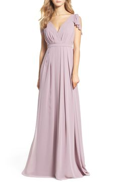 20df560591210 Main Image - Monique Lhuillier Bridesmaids Sleeveless Deep V-Neck Chiffon  Gown (Nordstrom Exclusive