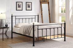 Black Metal King Size Bed Frame with Brushed Brass Knobs Bed Frame Sizes, King Size Bed Frame, Bed Frame With Mattress, Black Metal Bed Frame, Brass Bed, Brass Metal, Vintage Inspiriert, Bed Slats, Buy Bed