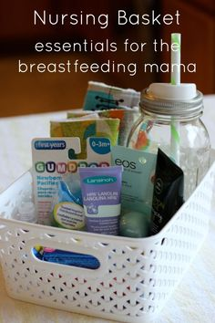 Tips for assembling a nursing basket to encourage breast feeding. Easy and affordable DIY shower gift for a new mom (or yourself!).