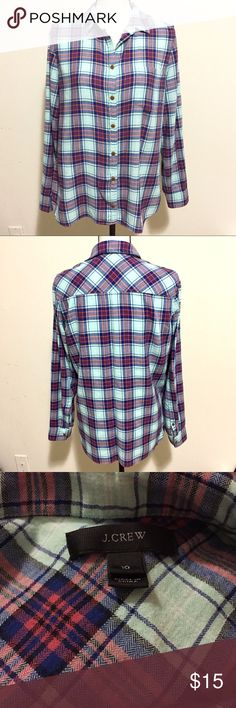 J. Crew Women's Plaid Button Down Shirt SZ 10 Excellent like new condition! Size 10. Gorgeous light teal blue background with pink and darker blues going throughout the pattern. J. Crew Tops Button Down Shirts