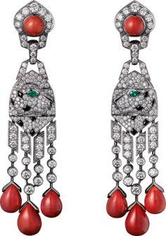 Panthère de Cartier earrings Platinum, coral, onyx, emeralds, diamonds