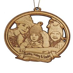"5 "" Custom photo ornament - laser cut and etched wood. $20.00, via Etsy."