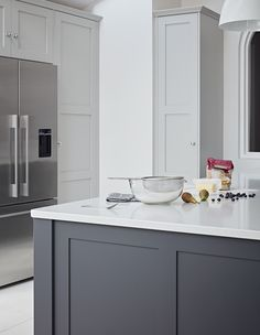Timeless Original Shaker kitchen by John Lewis of Hungerford. A classic mix of light and dark grey painted kitchen cabinets with marble worktop accents and Neolith marbled splashback. Grey Shaker Kitchen, Grey Painted Kitchen, Grey Kitchen Floor, Grey Kitchen Island, Gray And White Kitchen, Grey Kitchen Cabinets, Painting Kitchen Cabinets, Shaker Cabinets, Oak Cabinets